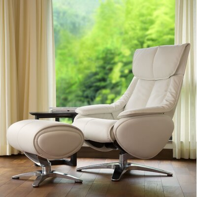 Kagan Manual Recliner with Ottoman Upholstery: White