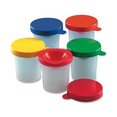 Paint Cups, with Coloured Lid, 10 per Pack, Assorted Colours LEO73010