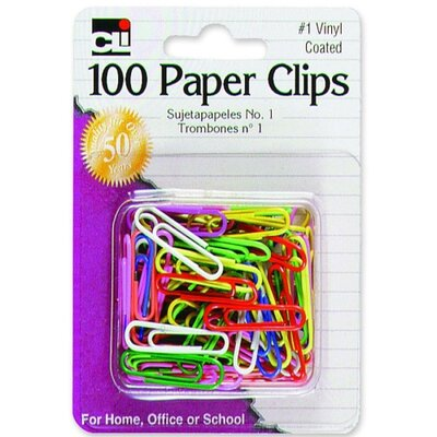 Paper Clips, No. 1, Vinyl, Rust-resistant, 100/CD, Assorted (Set of 6)