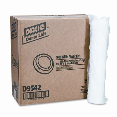 Dome Drink-Thru Lids, Fits 12 oz. and 16 oz. Paper Hot Cups, White, 1,000/Carton DXED9542