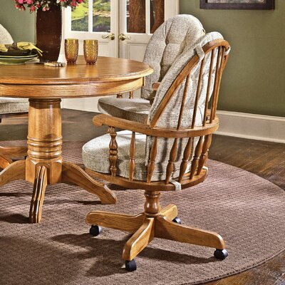 Low Price Cochrane Thresher's Too Bow Back Caster Chair Upholstery: Wheat Walker