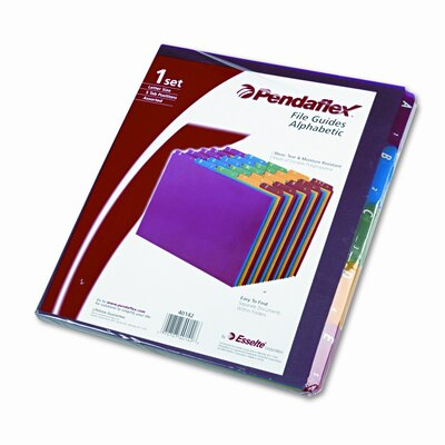 Top Tab File Guides, Alpha, 1/5 Tab, Polypropylene, Letter