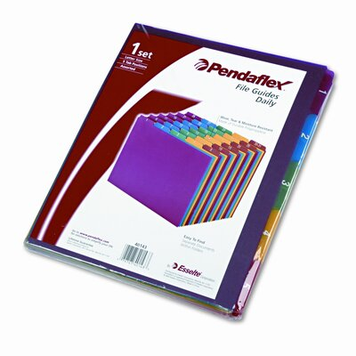 Top Tab File Guides, Daily, 1/5 Tab, Polypropylene, Letter