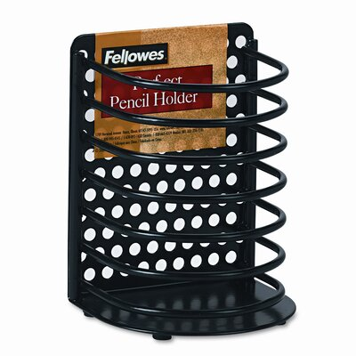 Fellowes Perf-Ect Pencil Cup, Metal, 3 1/2 x 3 x 4 7/8, Black FEL22307