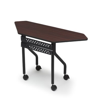 Officeworks Trapezoid Training Table with Wheels Tabletop Finish: Mahogany, Size: 42 x 18