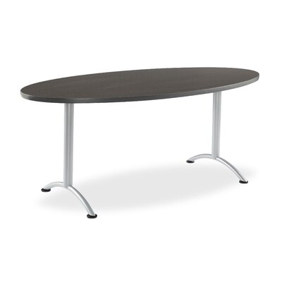 6 Oval Conference Table Finish: Gray Walnut with Silver Legs