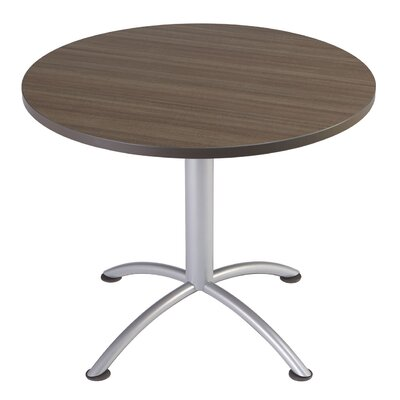 iLand Circular Conference Table Base Finish: Silver, Top Finish: Natural Teak, Size: 3