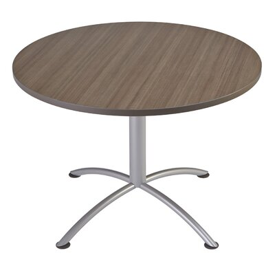 iLand Circular Conference Table Base Finish: Silver, Top Finish: Natural Teak, Size: 3.5