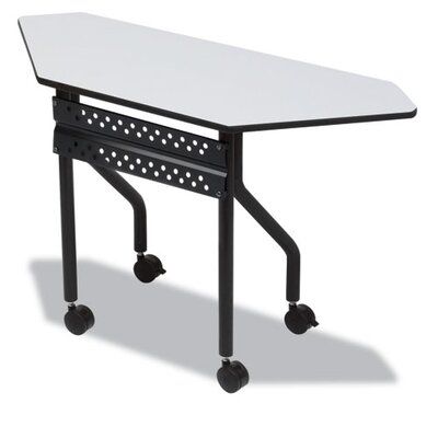 Officeworks Trapezoid Training Table with Wheels Tabletop Finish: Gray, Size: 42 x 18