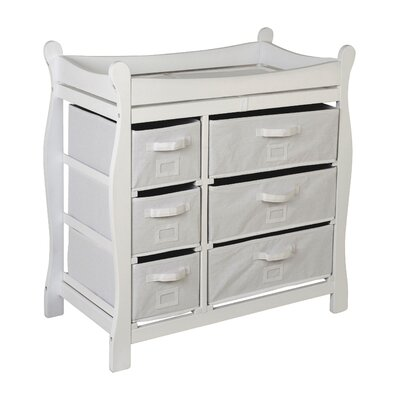 badger basket sleigh style baby changing table with 6 baskets finish white 2410