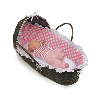 Badger Basket Hooded Moses Basket with Polka Dot Bedding - Finish: Espresso / Pink Polka Dot at Sears.com
