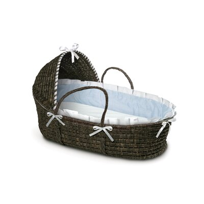Badger Basket Hooded Moses Basket with Gingham Bedding 965