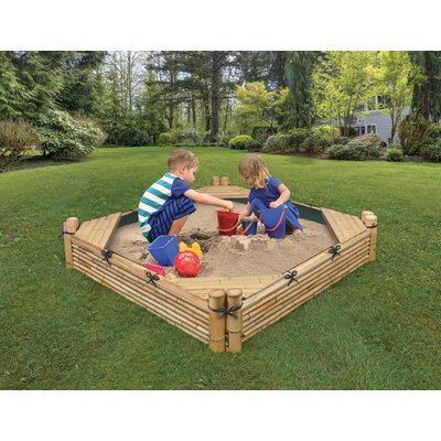 Bamboo Beach 4.6' Square Sandbox with Cover