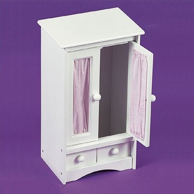 Doll Armoire with Pink Gingham Fabric