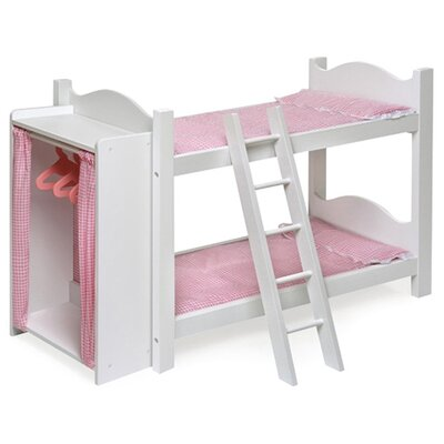 Doll Beds   Dolls on Bunk Beds With Ladder And Storage Armoire For 20  Dolls