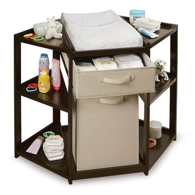 Badger Basket Diaper Corner Baby Changing Table with Hamper and Basket 2208