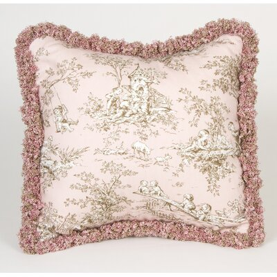 Madison Pink Toile Pillow with Fringe