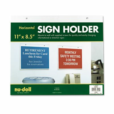 Horizontal Wall Sign Holder, Acrylic, 11 x 8-1/2