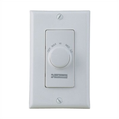 Four Speed Ceiling Fan Remote Wall Control in Almond Finish: White
