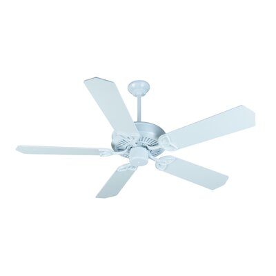 52 Holmstrom 5-Blade Ceiling Fan with Downrod Finish: White