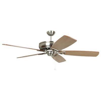62 Wolfgram 5-Blade Ceiling Fan Color: Brushed Polished Nickel with Teak/Walnut Blades