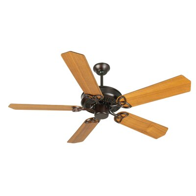 52 Holmstrom 5-Blade Ceiling Fan with Downrod Finish: Oiled Bronze with Teak Blades