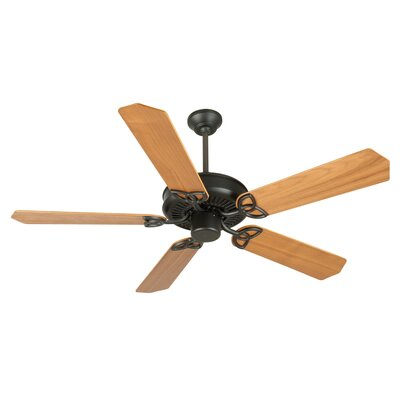 52 Holmstrom 5-Blade Ceiling Fan with Downrod Finish: Flat Black with Walnut Blades