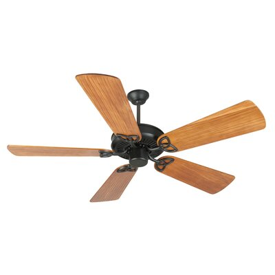 52 Holmstrom 5 Hand-Scraped Blade Ceiling Fan Finish: Flat Black with Teak Blades
