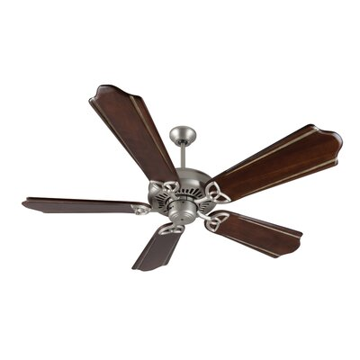 52 American Tradition 5-Blade Ceiling Fan Finish: Brushed Satin Nickel with Walnut/Madera Blades