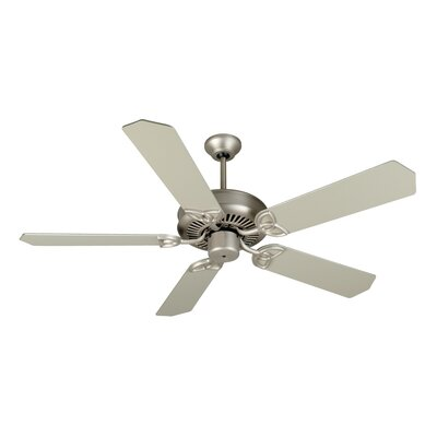 52 Holmstrom 5-Blade Ceiling Fan with Downrod Finish: Brushed Satin Nickel with Brushed Nickel Blades