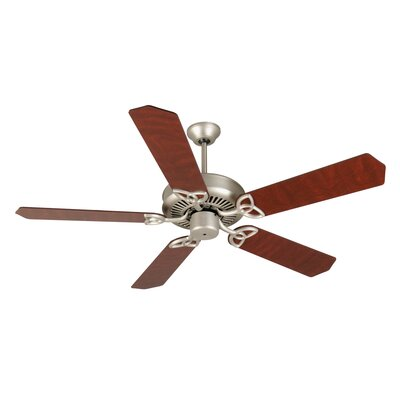 52 Holmstrom 5-Blade Ceiling Fan with Downrod Finish: Brushed Satin Nickel with Cherry/Rosewood Blades