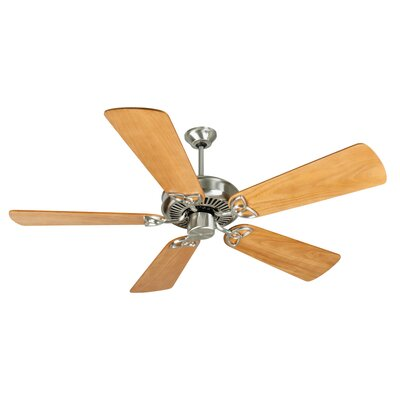 52 Holmstrom 5 Hand-Scraped Blade Ceiling Fan Finish: Stainless Steel with Distressed Oak Blades