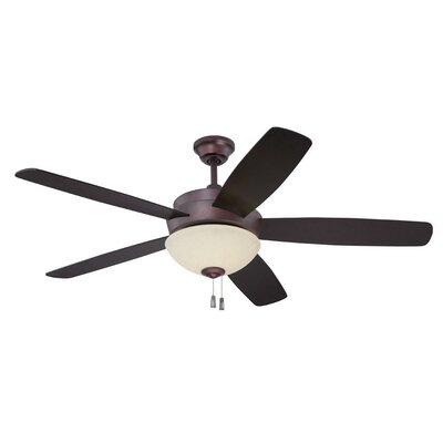 52 Bree 5 Blade Reversible LED Ceiling Fan Glass Type: Amber Frost
