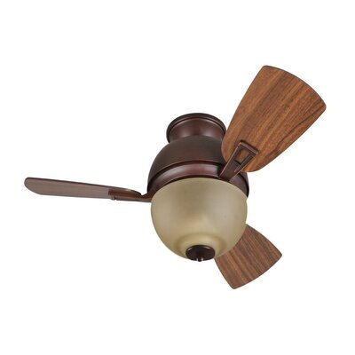 30 Luise 2-Light 3-Blade Ceiling Fan Glass Type: Amber Frost