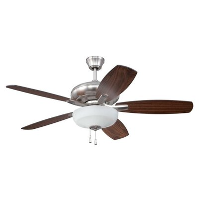 52 Forza 5-Blade Ceiling Fan Finish: Brushed Polished Nickel with Walnut/Teak Blades