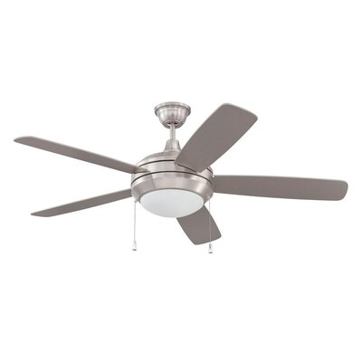 52 Helios 5-Blade Ceiling Fan Finish: Stainless Steel with Brushed Nickel Blades, Glass Type: White Frost