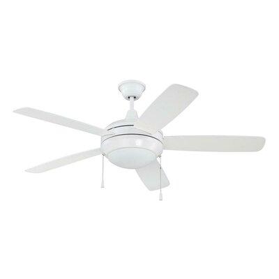 52 Helios 5-Blade Ceiling Fan Finish: White, Glass Type: White Frost