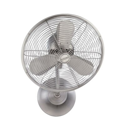 16 Hadlee 3 Blade Hard-Wired Wall Mount Fan Finish: Stainless Steel