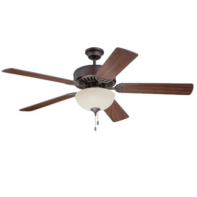 52 Pro Builder 202 5-Blade Ceiling Fan Finish: Aged Bronze Textured with Walnut Blades