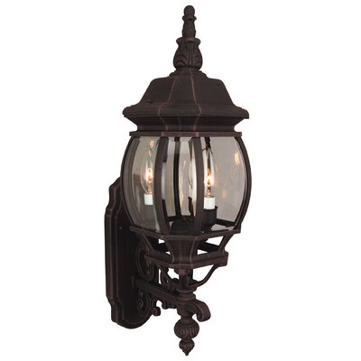 Oakhill Glass 3-Light Outdoor Sconce Finish: Rust