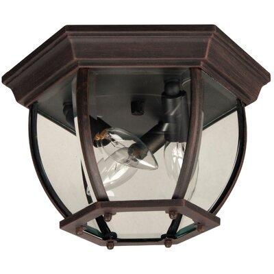 Bent Glass 3-Light Flush Mount Finish: Rust