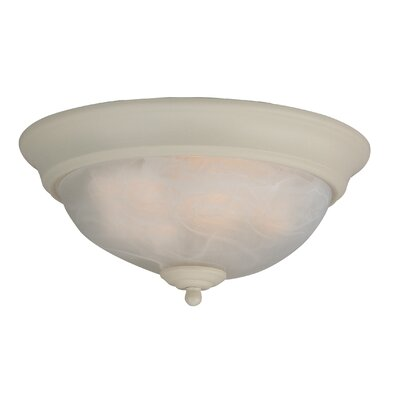 Hymera Arch Pan Alabaster 2 Light Flush Mount Finish: Antique White, Size: 5.5H x 11W