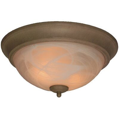 Hymera Arch Pan Alabaster 2 Light Flush Mount Finish: Mocha, Size: 5.5H x 11W