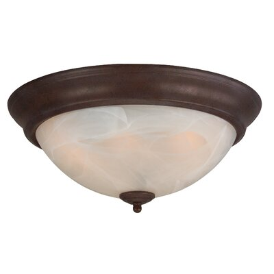 Arch Pan Alabaster 2 Light Flush Mount Finish: Brownstone, Size: 5.5H x 13W