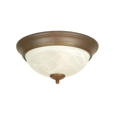 Hymera Arch Pan Alabaster 2 Light Flush Mount Finish: Aged Bronze, Size: 5.5H x 13W