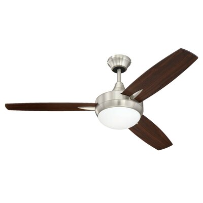 48 Targas 3-Blade Ceiling Fan Finish: Brushed Polished Nickel with Walnut/Dark Oak Blade