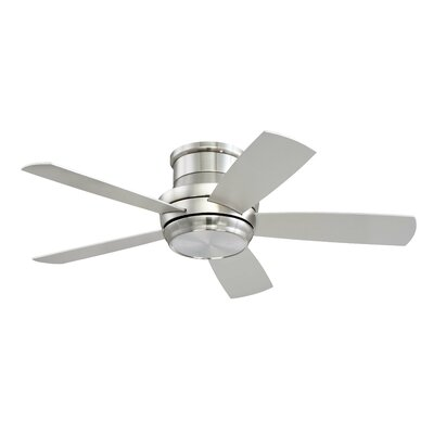 Contemporary 44 Cedarton Hugger 5 Blade Ceiling Fan with Remote Finish: Brushed Polished Nickel with Silver/Maple Blades