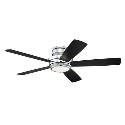 52 Cedarton Hugger 5 Blade Ceiling Fan with Remote Finish: Chrome with Walnut/Flat Black Blades