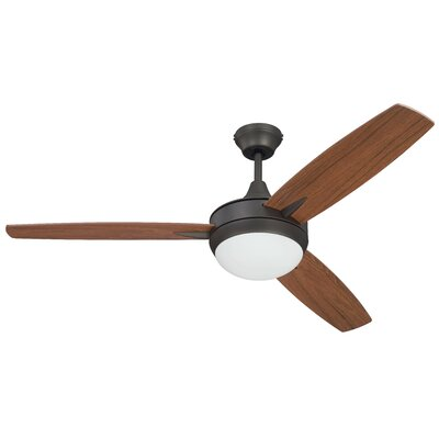 52 Wesneski 3 Blade Ceiling Fan with Remote Finish: Espresso/Brown Blades