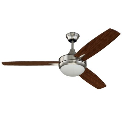 52 Targas 3 Blade Ceiling Fan with Remote Finish: Brushed Polished Nickel with Walnut/Dark Oak Blade